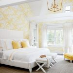 Bedroom, Wooden Floor, Yellow Wallpaper,white Bed Platform, White Bench, White Chair With Yellow Cushion, White Curtain