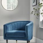 Blue Velvet Chair, White Floor, Grey Wall