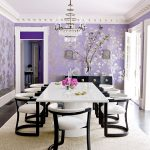 Dining Room, Black Wooden Floor, Purple Wallpaper, White Table, Black White Chairs, Chandelier, White Ceiling