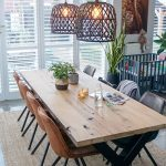 Dining Room, Grey Floor Tiles, Wooden Long Table, Leather Modern Midcentury Chairs, Rattan Pendants