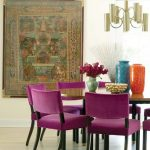 Dining Room, Light Wooden Floor, Round Table, Purple Chairs, Golden Chandelier,