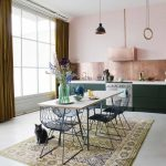 Dining Room, Seamless Floor, Pink Wall, Chopper Backsplash, Wooden Rectangular, Black Iron Chairs, Black Pendant, Patterned Rug