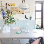Dining Room, Seamless Floor, White Wall, Green Wainscoting, White Pendant, Pink White Chairs, Neutral Table