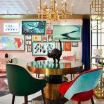 Dining Room, White Black Floor, Pink Wall, Golden Black Round Table, Colorful Velvet Chair, Goden Chandelier