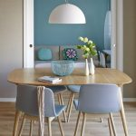 Dining Room, Wooden Floor, Brown Wall, Wooden Table, Wooden Chairs With Light Blue Cushion, White Pendant