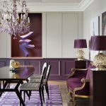 Dining Room, Wooden Floor, White Wall, Purple Wainscoting, Purple Sofa With Golden Lines, Purple Table Lamp, Purple Chandelier, Wooden Table, White Black Chairs, Purple Ruga