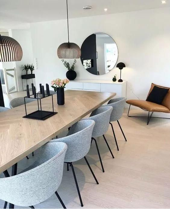 dining room, wooden floor, white wall, white cabinet, wooden table, grey chairs, modern pendants