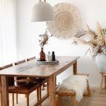 Dining Set, Wooden Floor, White Wall, Wooden Table, Wooden Bench, Wooden Chairs With Brown Leather, White Pendant