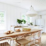Dining Set, Wooden Floor, Wooden Table, Golden And White Iron Chair, White Wall, White Pendant, White Kitchen Cabinet