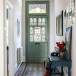 Entrance, Patterned Floor, White Wall, Green Door, Colorful Glass, Green Console Table