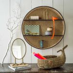 Floating Round Rattan Shelves With Black Lines, White Wooden Wall