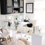 Home Office, White Rug, White Corner Table, White Golden Office Chair, White Golden Chair, Black Floating Cabinet