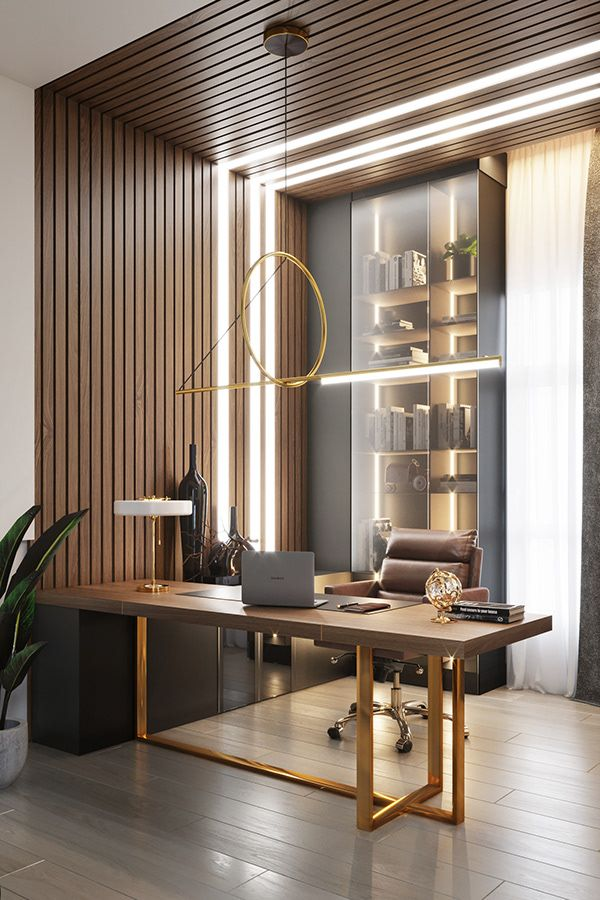 home office, wooden floor, wood grid, shelves, wooden table, golden legs, brown leather office chair, golden pendants