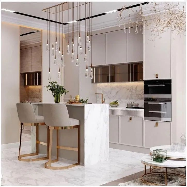 kitchen, cream marble island, white kitchen cabinet, cream stools, lining pendants