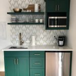 Kitchen, Green Kitchen Cabinet, Patterned White Marble Backsplash, White Top, Green Floating Shelves