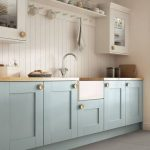 Kitchen, Grey Floor Tiles, Blue Kitchen Cabinet With Wooden Top, White Wooden Plank, White Cabinet