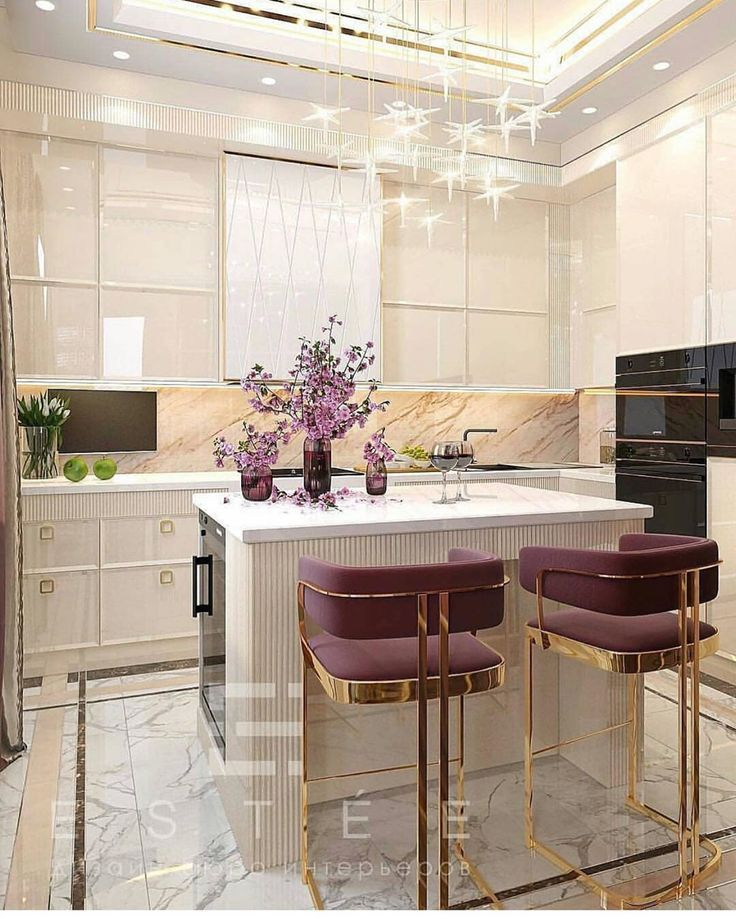 kitchen, white marble floor, white marble cabinet, star pendants