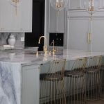 Kitchen, White Marble Island, White Kitchen Cabinet, Clear Glass Fixture