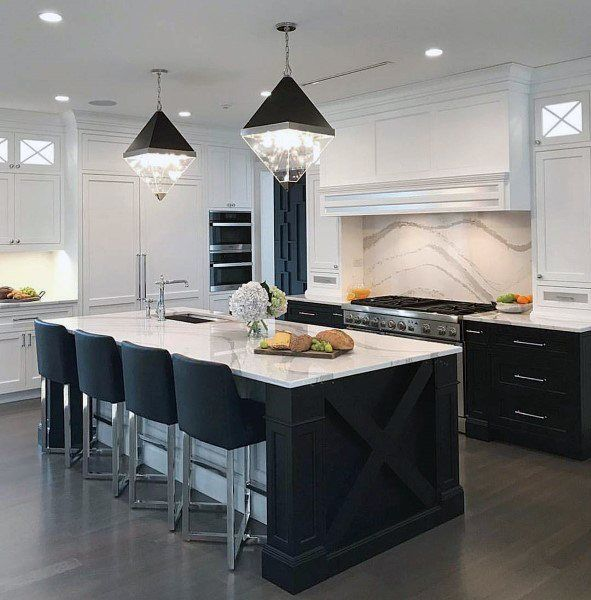 kitchen, wooden floor, white kitchen cabinet, black stools, black and glass prism