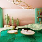 Living Room, Green Floor, Pink Brown Wall, Pink Brown Ceiling, Golden Pendant, Green Thin Sofa, Tray Coffee Table
