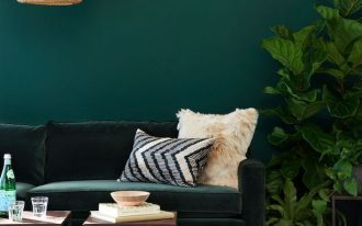 living room, green wall, green velvet sofa, coffee tabes, rattan pendant, green patterned rug
