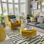 Living Room, Grey Rug, White Patterned Rug, Grey Sofa, Yellow Chair, Yellow Hexagonal Ottoman, White Cabinet