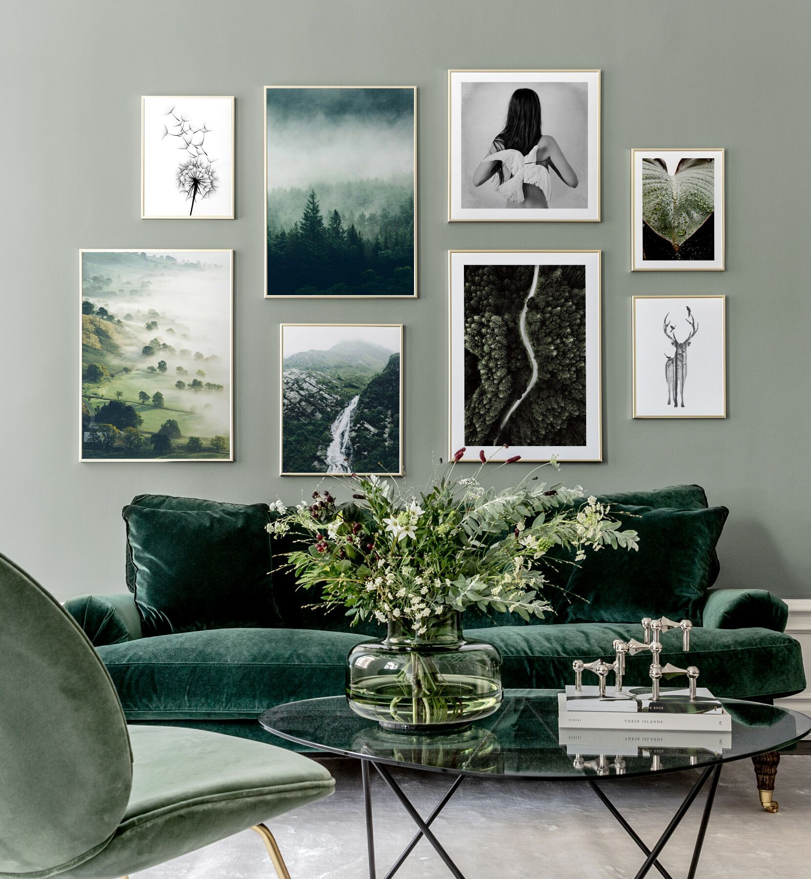 living room, light green wall, green velvet sofa, green chair, glass top coffee table