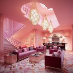 Living Room, Pink Patterned Floor, Pink Ceiling, Pink Wall, Pink Sofa, Pink Coffee Tbale, Golden Balls Pendnats