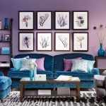 Living Room, Purple Wall, Blue Velvet Sofa, Coffee Table, Wooden Rack, Wooden Side Table