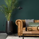 Living Room, Seamless Grey Floor, Brown Velvet Sofa, Black Pot, Wooden Coffee Table