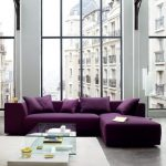 Living Room, Seamless Grey Floor, Glass Wall, Purple Sofa, Coffee Table