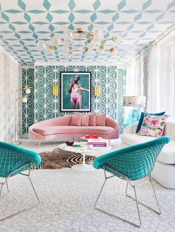 living room, white patterned floor, white patterned wall, green patterned wall, pink sofa, white sofa, green chairs, white floor lamp