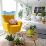 Living Room, White Rug, Grey Bench, Yellow Chair, Wooden Nesting Coffee Table