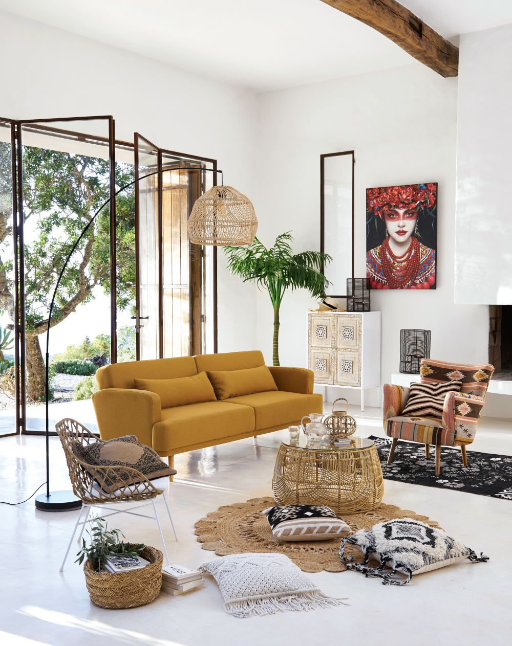 living room, white seamless floor, white wall, yellow sofa, rattan chair, rattan coffee table, rattan rug, rattan lamp