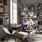 Living Room, White Wooden Floor, White Wall, White Sofa, White Marble Coffee Table, White Lounge Chair, White Thin Book Shelves