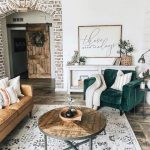 Living Room, Wooden Floor, Patterned Rug, White Wall, Wooden Coffee Table, Leahter Sofa