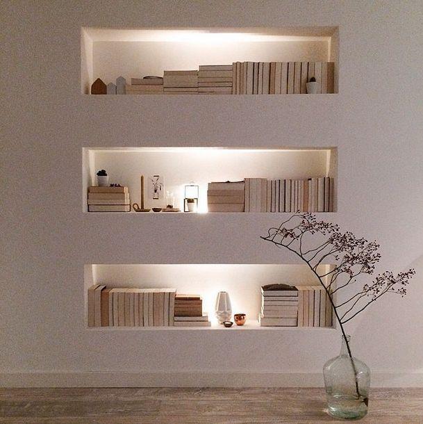 living room, wooden floor, white wall, nook shelves