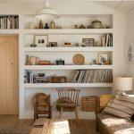 Living Room, Wooden Floor, White Wall, White Built In Shelves, White Pendant, Wooden Coffee Table, Brown Sofa
