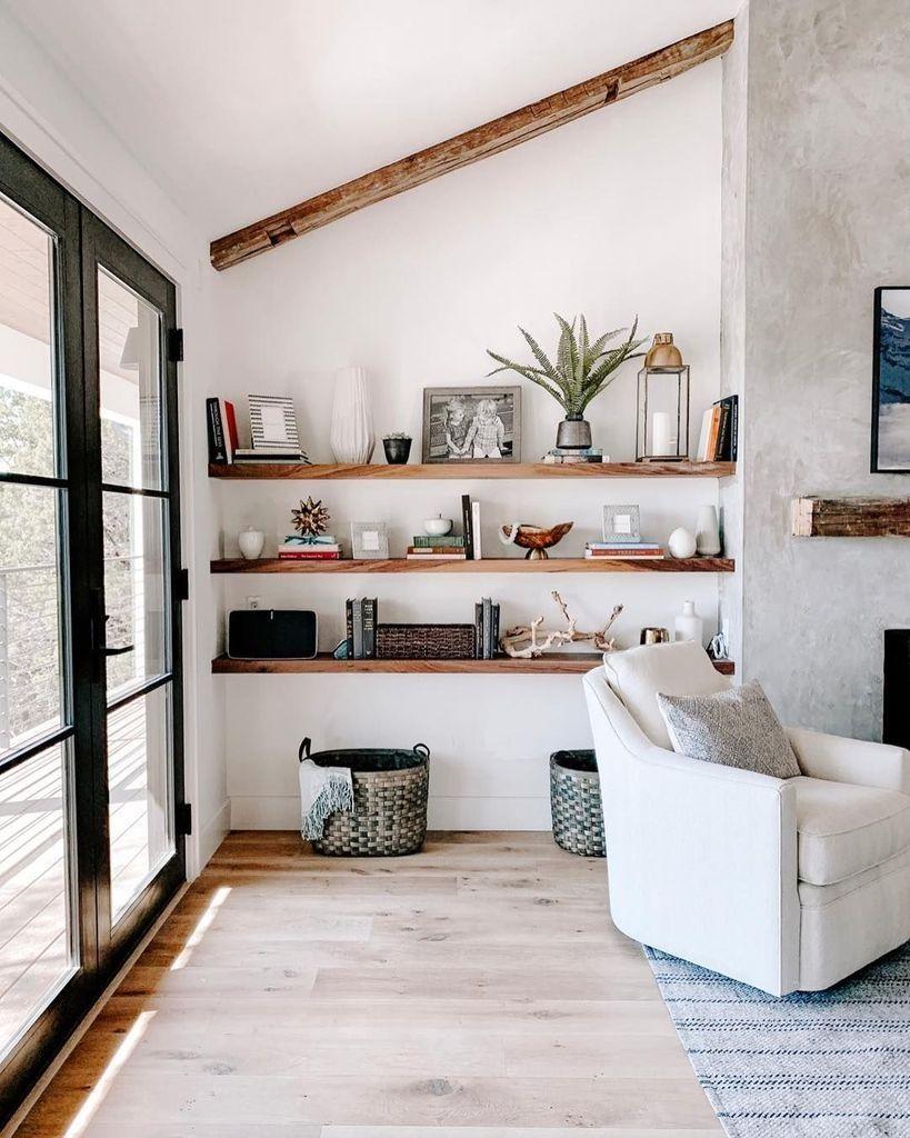 living room, wooden floor, white wall, wooden floating shelves