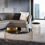 Nesting Table, Black Glass Top, Golden Legs, Grey Rug, Grey Sofa