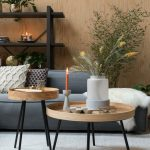 Nesting Table, Wooden, Black Legs, Grey Rug, Grey Sofa