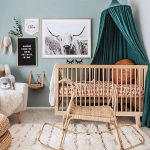 Nursery, Grey Floor, White Wall, Blue Wall, Wooden Crib, Rattan Rocking Toys, White Chair, Green Curtain