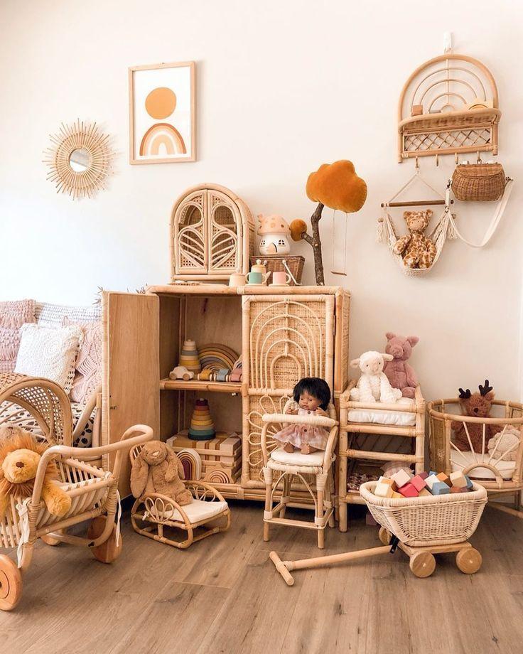 nursery, wooden floor, white wall, rattan cabinet, rattan shelves, rattan crib, rattan toys