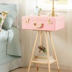 Pnk Suitcase Table, Wooden Legs, Golden Knobs, Golden Lamp