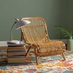 Rattan Chair, Colorful Rug, Green Wall