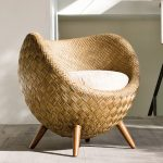 Rattan Chair In Half Egg Shape, Wooden Legs