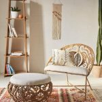 Rattan Chair With Half Round Back, White Cushion, Rattan Ottoman, White Cushion