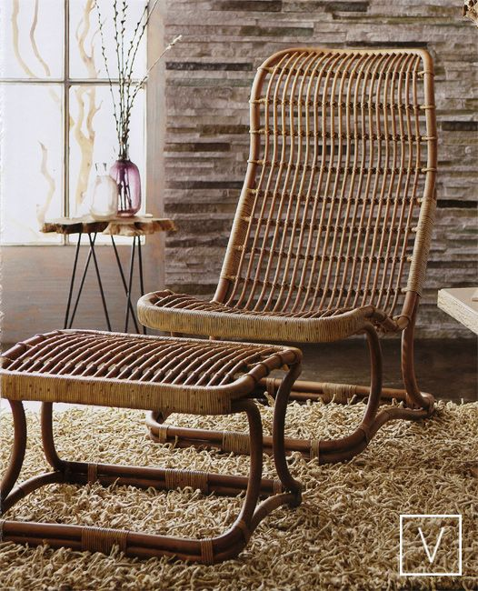 rattan chair with rattan ottoman, rug