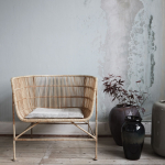 Rattan Chairs With Thin Cushion, Grey Wall, Wooden Floor