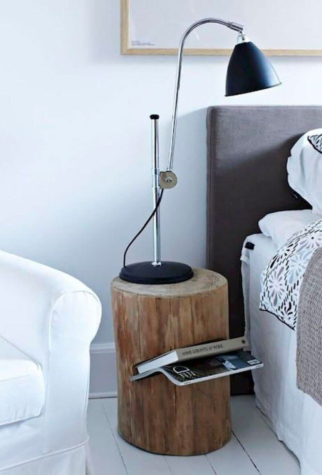 round wooden slab bedside table, angled shelves